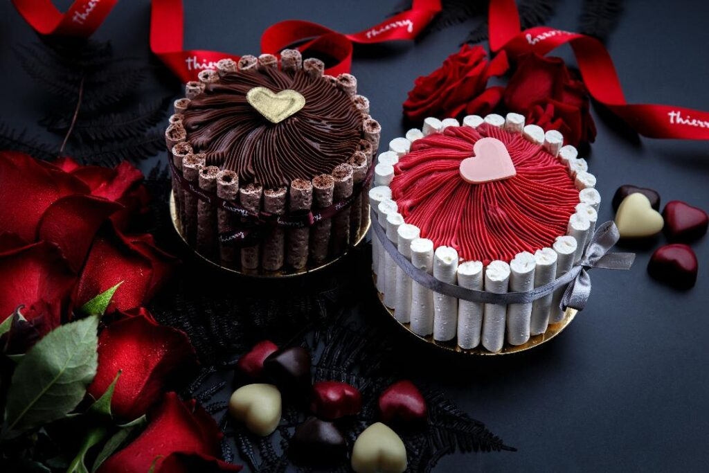 two valentines day cake