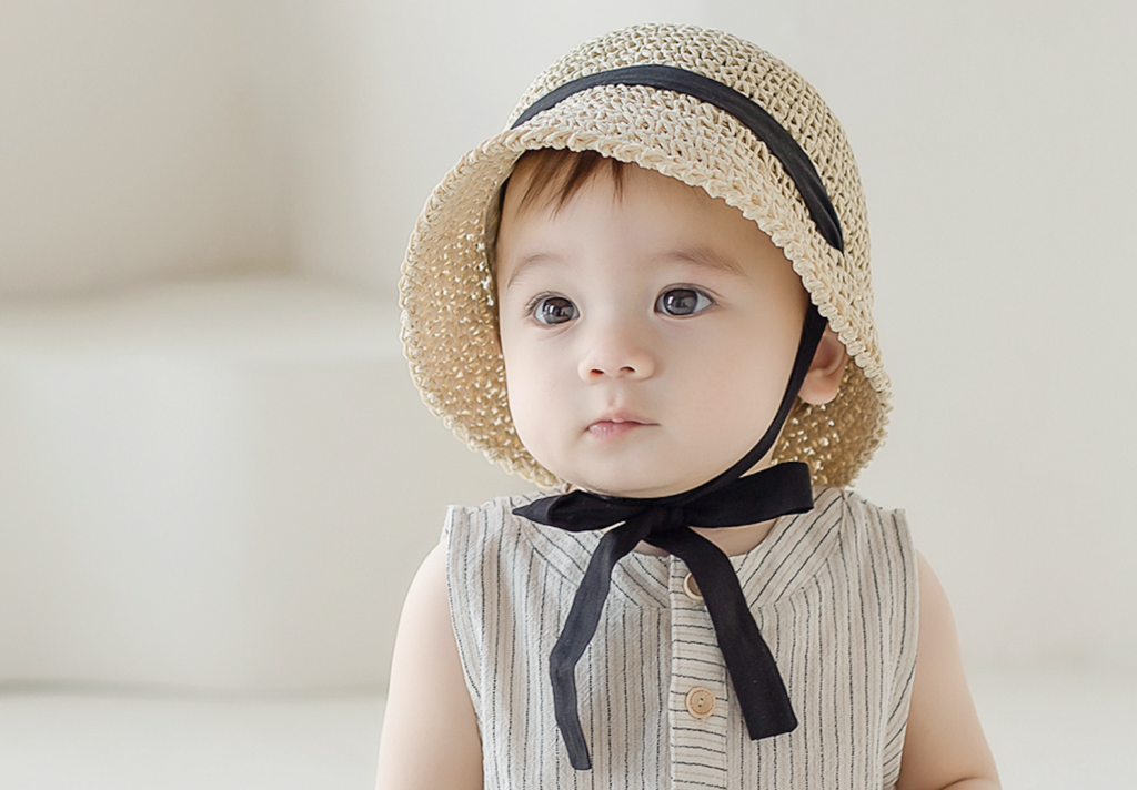 Toddler in Torry Straw Baby Hat